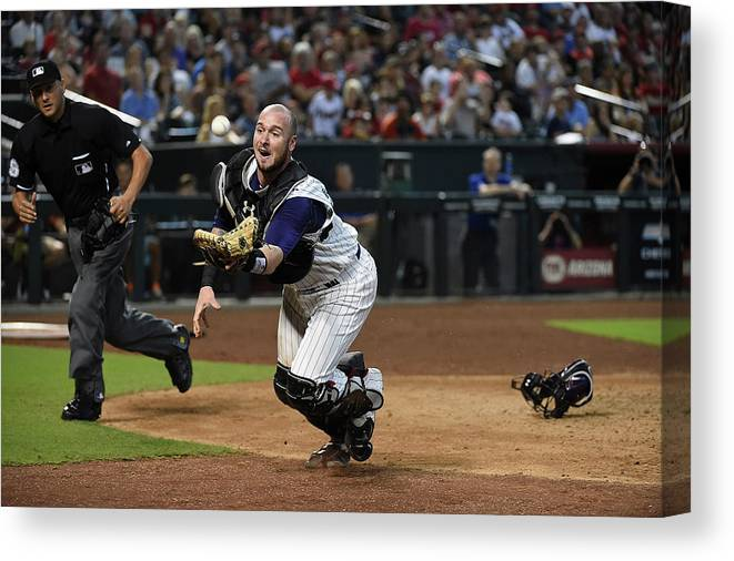 People Canvas Print featuring the photograph Jarrod Saltalamacchia by Norm Hall