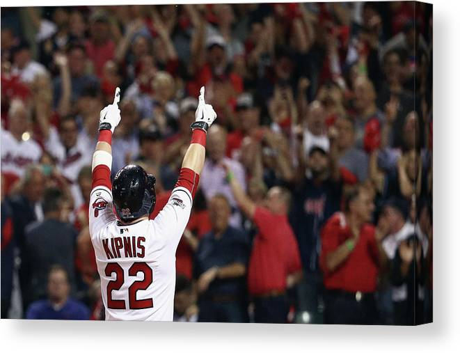 American League Baseball Canvas Print featuring the photograph Jason Kipnis by Maddie Meyer