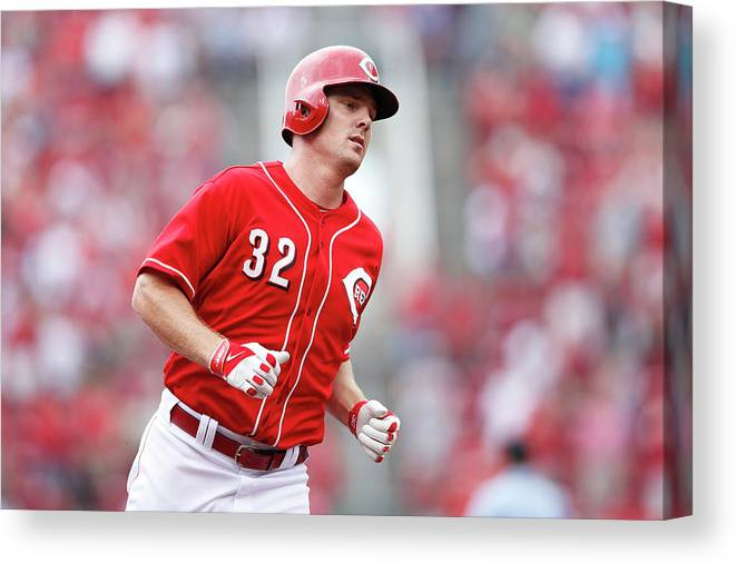 Great American Ball Park Canvas Print featuring the photograph Jay Bruce by Joe Robbins