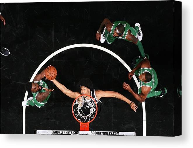 Nba Pro Basketball Canvas Print featuring the photograph Jaylen Brown and Jarrett Allen by Nathaniel S. Butler