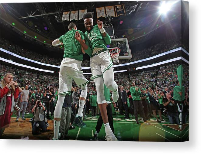 Playoffs Canvas Print featuring the photograph Jaylen Brown and Jayson Tatum by Nathaniel S. Butler