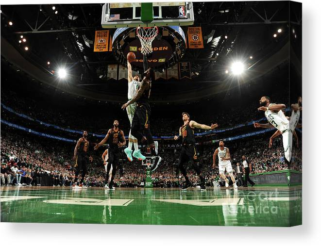 Playoffs Canvas Print featuring the photograph Jayson Tatum and Lebron James by Brian Babineau