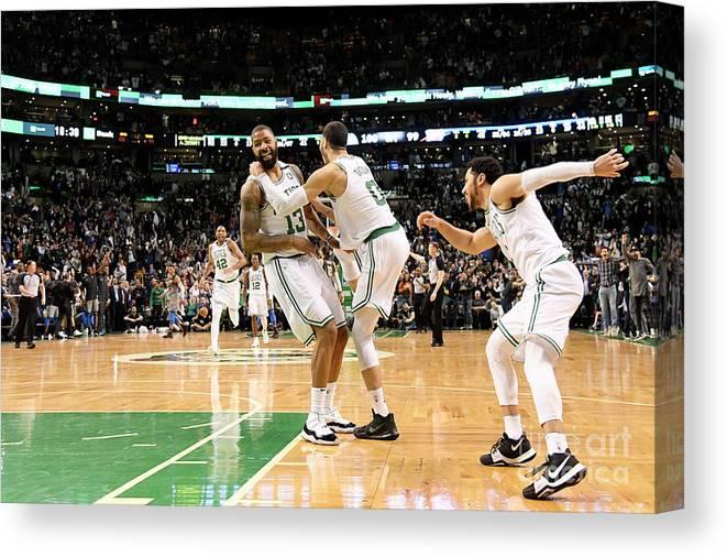 Nba Pro Basketball Canvas Print featuring the photograph Jayson Tatum and Marcus Morris by Brian Babineau