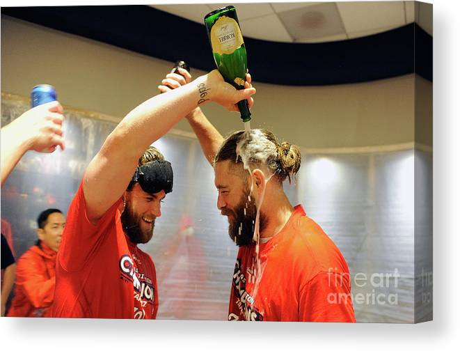 Championship Canvas Print featuring the photograph Jayson Werth and Bryce Harper by Greg Fiume