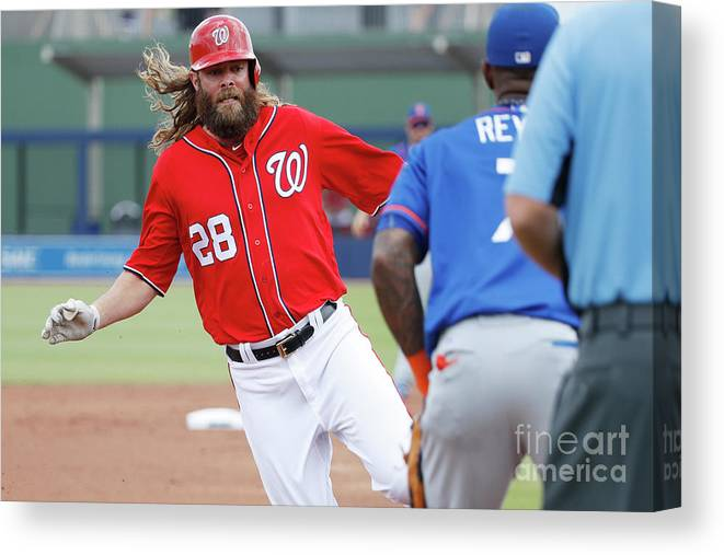 Three Quarter Length Canvas Print featuring the photograph Jayson Werth and Bryce Harper by Joe Robbins