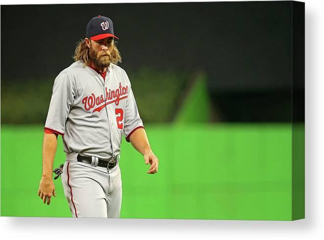 American League Baseball Canvas Print featuring the photograph Jayson Werth by Mike Ehrmann