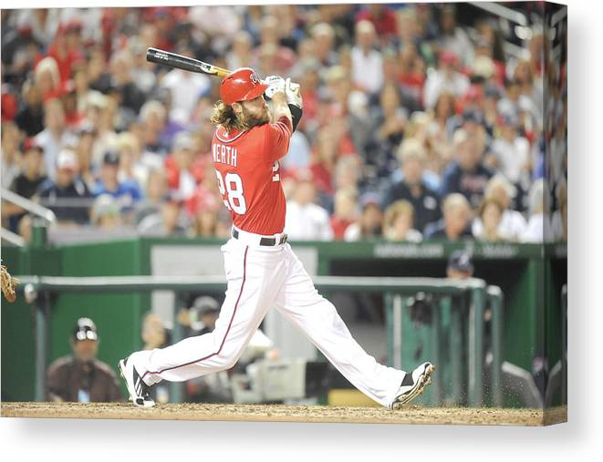 Motion Canvas Print featuring the photograph Jayson Werth by Mitchell Layton