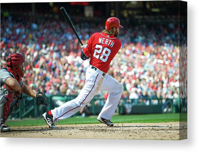 Motion Canvas Print featuring the photograph Jayson Werth by Rob Tringali