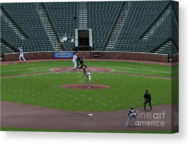 American League Baseball Canvas Print featuring the photograph Jeff Samardzija and Chris Davis by Patrick Smith