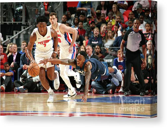 Nba Pro Basketball Canvas Print featuring the photograph Jeff Teague and Stanley Johnson by Brian Sevald
