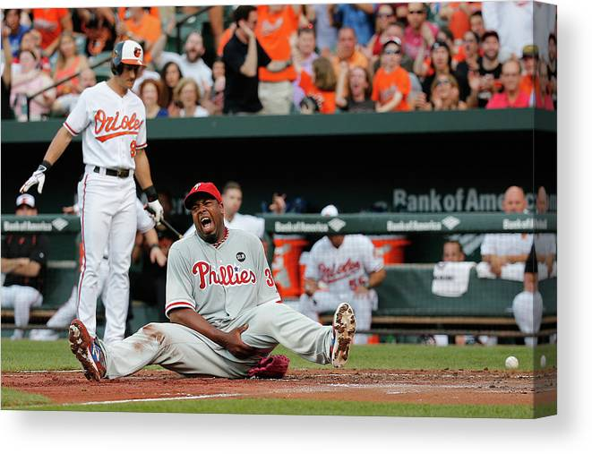 People Canvas Print featuring the photograph Jerome Williams and Ryan Flaherty by Rob Carr