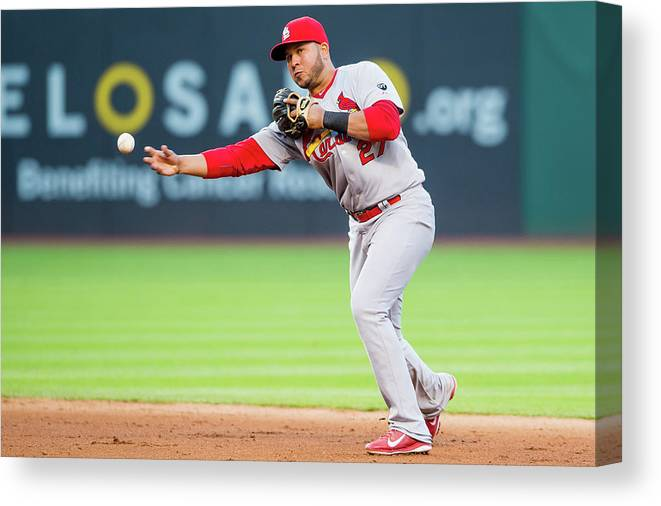 St. Louis Cardinals Canvas Print featuring the photograph Jhonny Peralta and David Murphy by Jason Miller