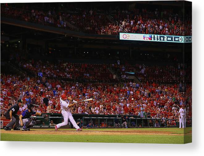 St. Louis Cardinals Canvas Print featuring the photograph Jhonny Peralta by Dilip Vishwanat