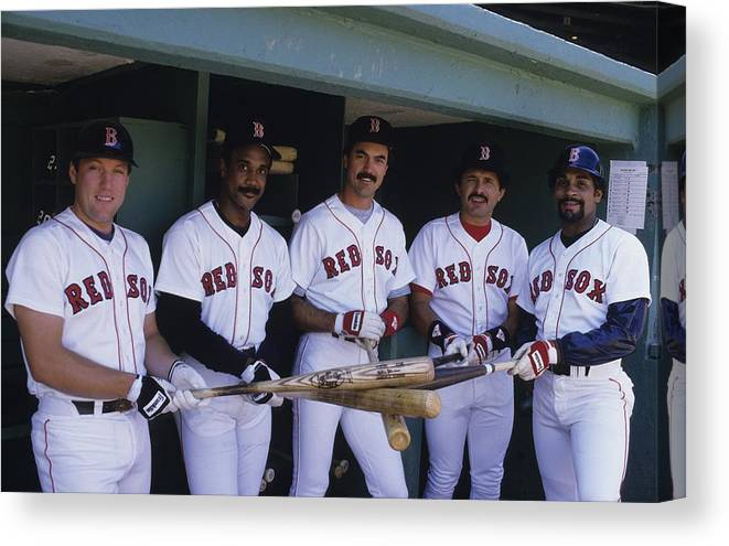 1980-1989 Canvas Print featuring the photograph Jim Rice by Ronald C. Modra/sports Imagery