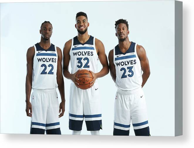 Media Day Canvas Print featuring the photograph Jimmy Butler and Andrew Wiggins by David Sherman