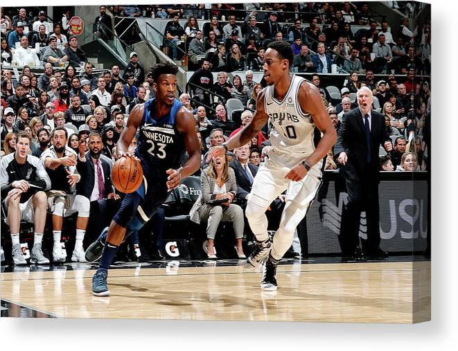 Nba Pro Basketball Canvas Print featuring the photograph Jimmy Butler and Demar Derozan by Chris Covatta