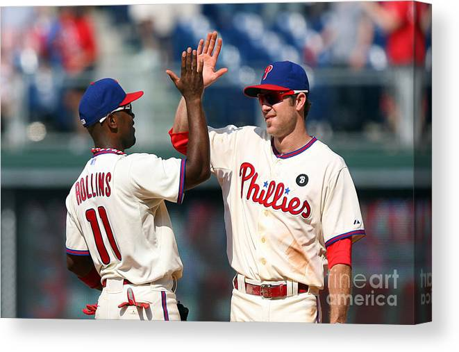 Citizens Bank Park Canvas Print featuring the photograph Jimmy Rollins and Chase Utley by Hunter Martin