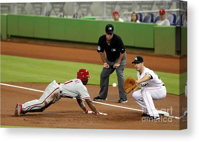 American League Baseball Canvas Print featuring the photograph Jimmy Rollins and Nick Green by Marc Serota