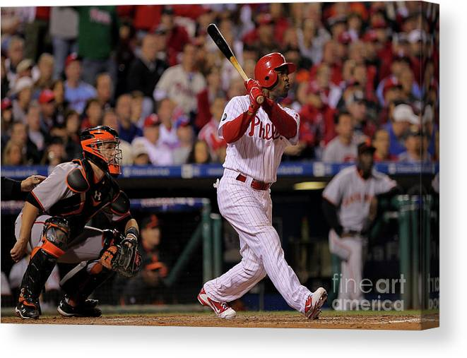 Playoffs Canvas Print featuring the photograph Jimmy Rollins by Doug Pensinger