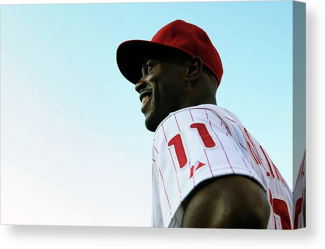 Citizens Bank Park Canvas Print featuring the photograph Jimmy Rollins by Drew Hallowell