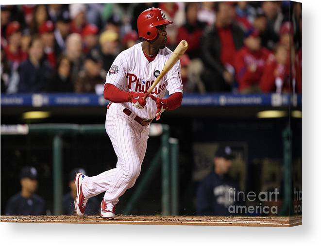 American League Baseball Canvas Print featuring the photograph Jimmy Rollins by Jed Jacobsohn