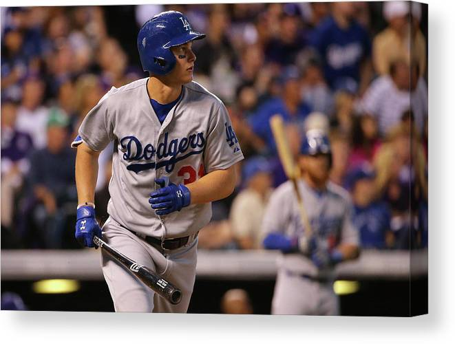 American League Baseball Canvas Print featuring the photograph Joc Pederson by Doug Pensinger