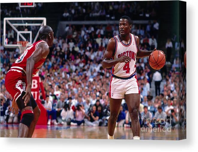 Nba Pro Basketball Canvas Print featuring the photograph Joe Dumars and Michael Jordan by Andrew D. Bernstein