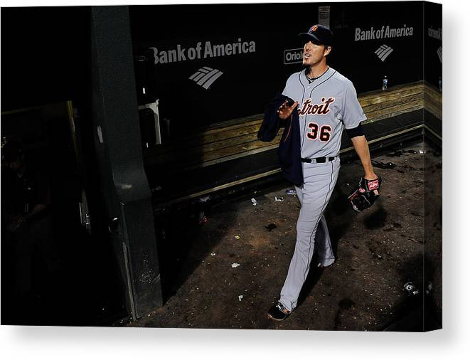 American League Baseball Canvas Print featuring the photograph Joe Nathan by Patrick Mcdermott