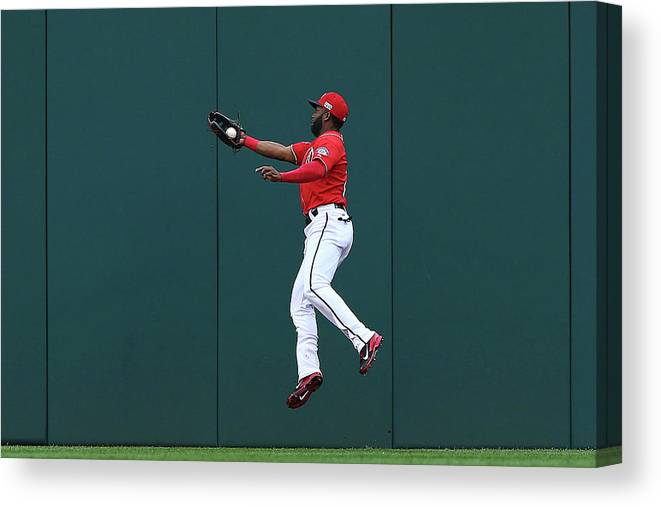Ball Canvas Print featuring the photograph Joe Panik and Denard Span by Elsa