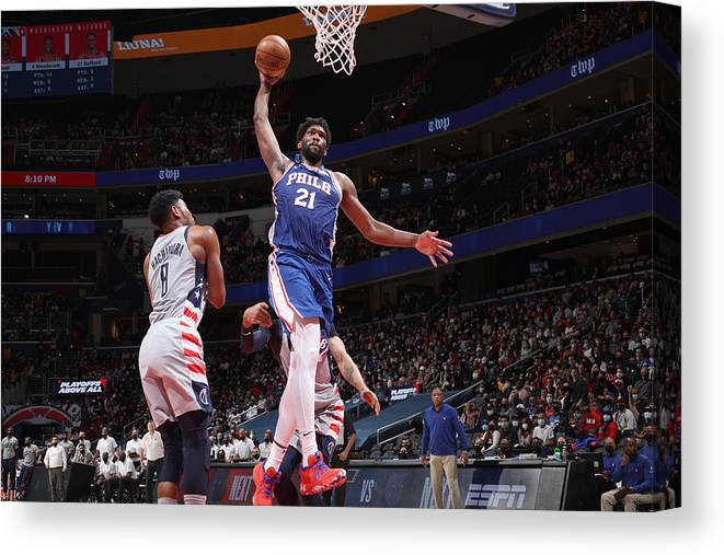 Playoffs Canvas Print featuring the photograph Joel Embiid by Stephen Gosling