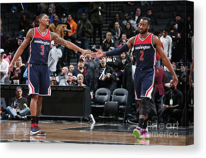 Nba Pro Basketball Canvas Print featuring the photograph John Wall and Bradley Beal by Nathaniel S. Butler
