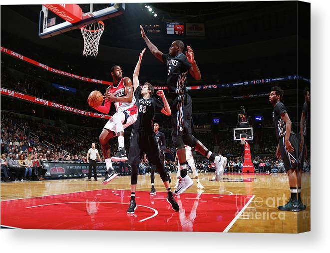 Nba Pro Basketball Canvas Print featuring the photograph John Wall, Gorgui Dieng, and Nemanja Bjelica by Ned Dishman