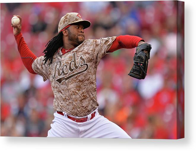 Great American Ball Park Canvas Print featuring the photograph Johnny Cueto by Jamie Sabau
