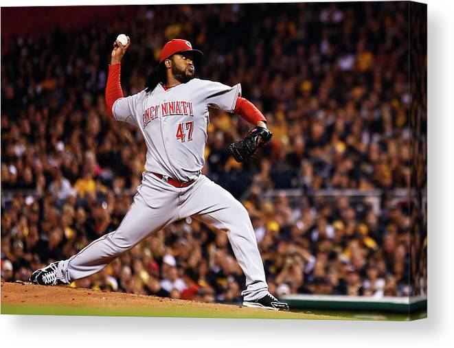 American League Baseball Canvas Print featuring the photograph Johnny Cueto by Jared Wickerham