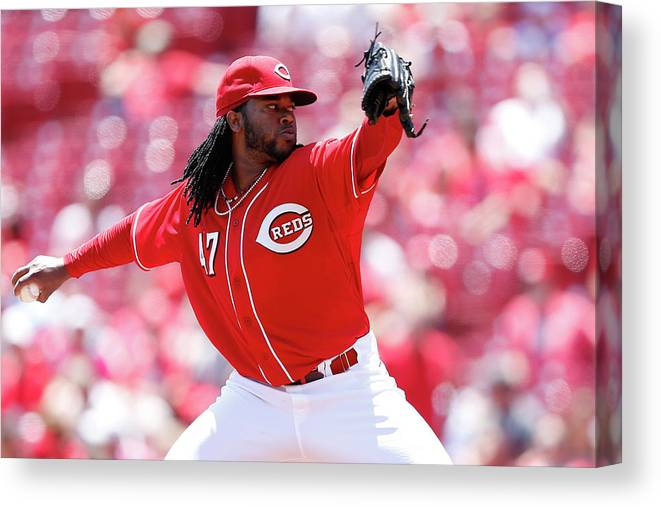Great American Ball Park Canvas Print featuring the photograph Johnny Cueto by Joe Robbins