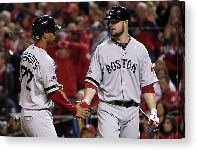 American League Baseball Canvas Print featuring the photograph Jon Lester and Xander Bogaerts by Rob Carr