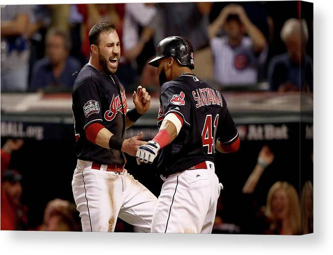 Three Quarter Length Canvas Print featuring the photograph Jon Lester, Carlos Santana, and Jason Kipnis by Elsa