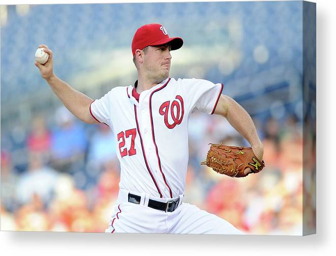 American League Baseball Canvas Print featuring the photograph Jordan Zimmermann by Greg Fiume