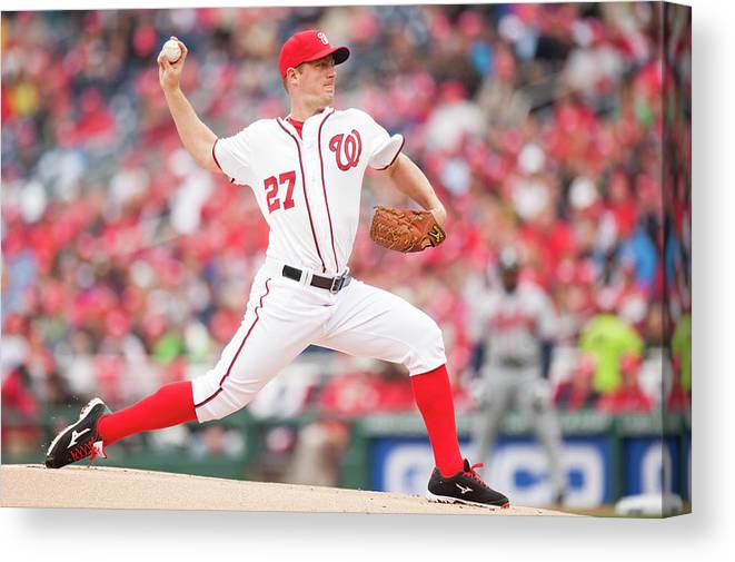 Baseball Pitcher Canvas Print featuring the photograph Jordan Zimmermann by Mitchell Layton