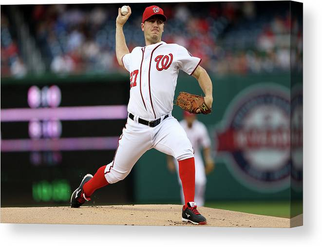 Working Canvas Print featuring the photograph Jordan Zimmermann by Patrick Smith
