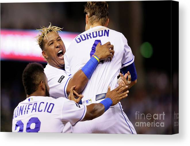 Salvador Perez Diaz Canvas Print featuring the photograph Jorge Bonifacio and Alex Gordon by Jamie Squire