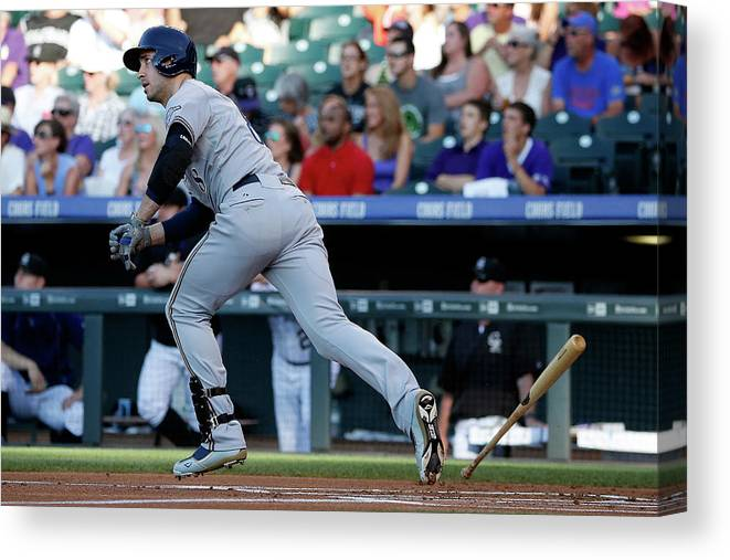 People Canvas Print featuring the photograph Jorge De La Rosa and Ryan Braun by Doug Pensinger