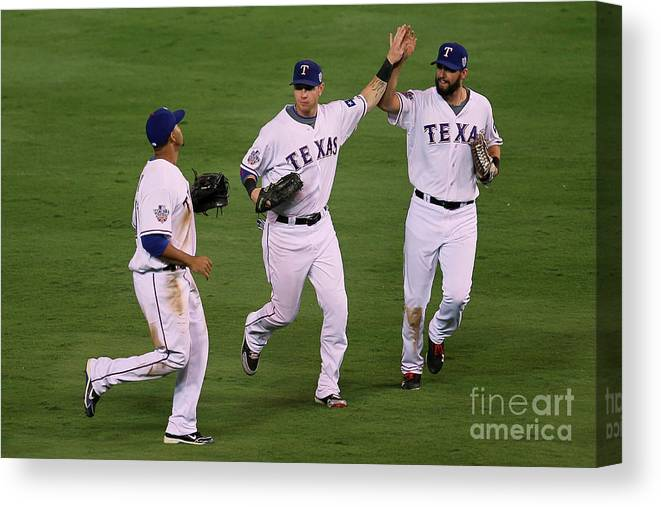 American League Baseball Canvas Print featuring the photograph Josh Hamilton, Jeff Francoeur, and Nelson Cruz by Stephen Dunn