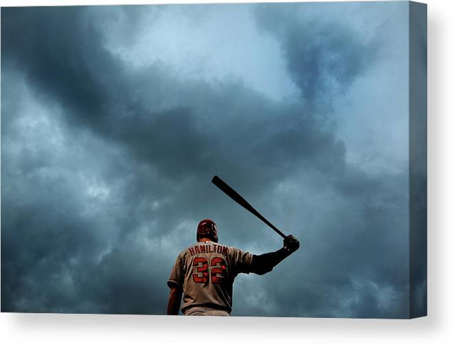 American League Baseball Canvas Print featuring the photograph Josh Hamilton by Patrick Smith