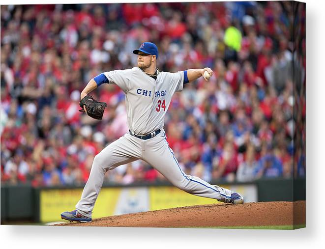 Great American Ball Park Canvas Print featuring the photograph Josh Harrison and Jon Lester by Taylor Baucom