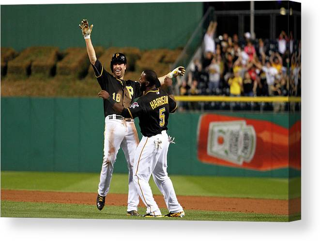 Ninth Inning Canvas Print featuring the photograph Josh Harrison and Neil Walker by Justin K. Aller