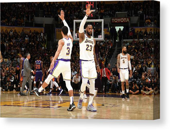 Nba Pro Basketball Canvas Print featuring the photograph Josh Hart and Lebron James by Andrew D. Bernstein