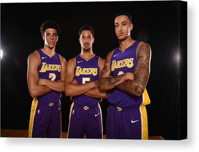 Nba Pro Basketball Canvas Print featuring the photograph Josh Hart, Lonzo Ball, and Kyle Kuzma by Brian Babineau