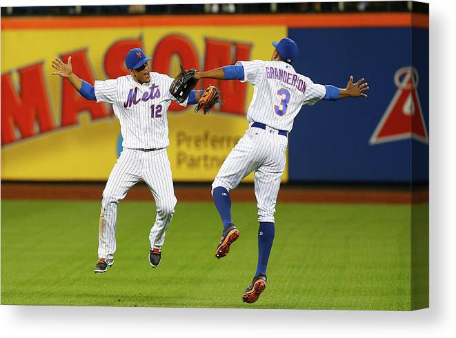 People Canvas Print featuring the photograph Juan Lagares and Curtis Granderson by Jim Mcisaac