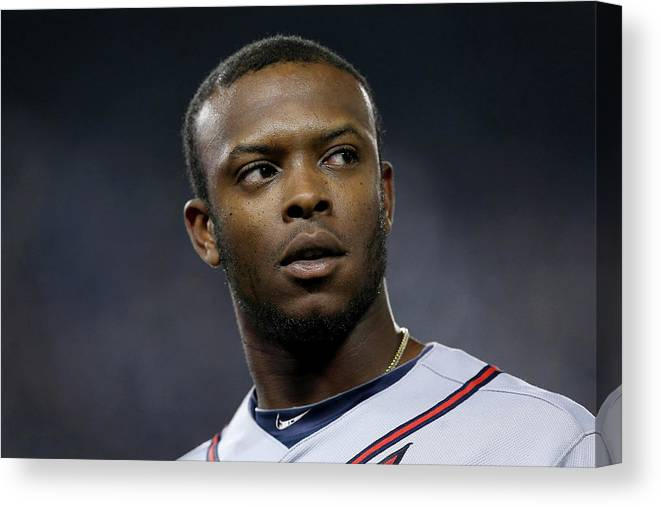 Playoffs Canvas Print featuring the photograph Justin Upton by Stephen Dunn